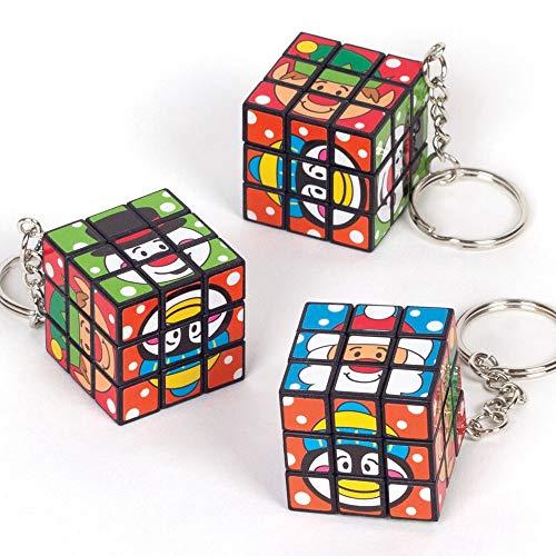 Baker Ross AT347 Feestelijke vrienden puzzel sleutelhanger (4 stuks) – kerstkunst en knutselen, verschillende ontwerpen