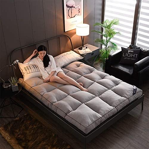 YCQ Tapetes Suaves, Fundas de colchón de futón más Gruesas, Protectores de colchón Premium para hoteles Acolchados para Adaptarse a tapetes de Tatami Antideslizantes (Color : Grey, Tamaño : Queen)