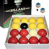 ALPHAK - Bolas de billar oficiales de juego Inglés 8 Pool – Set de 16 bolas rojas y amarillas de tamaño reglamentario + 2 tizas azules – Accesorios profesionales de Snooker