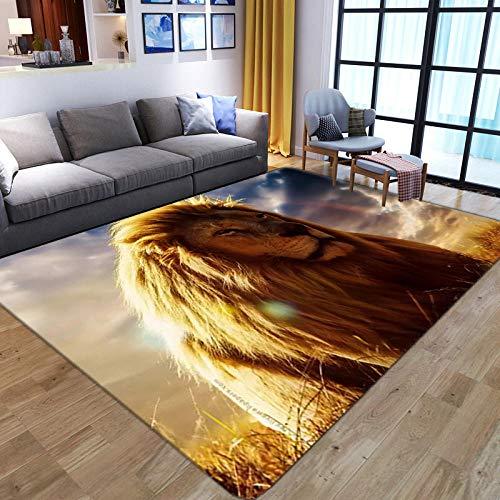 LHGBGBLN Golden Lion Wild Grass Sala de Estar Dormitorio Alfombra 3D Pasillo Alfombra de Piso Alfombra de Piso Abstracta Alfombra Antideslizante