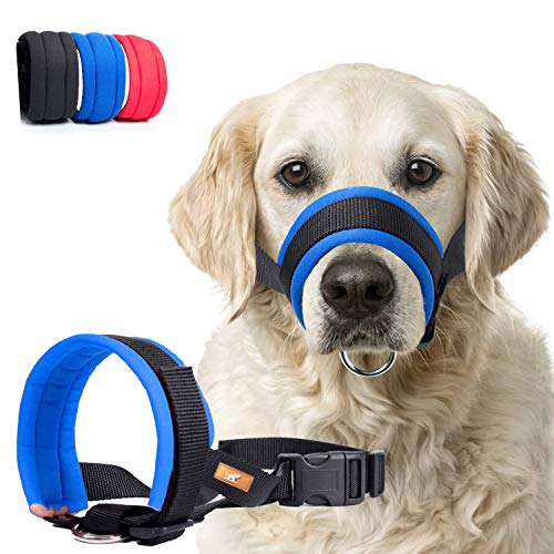 Dog Muzzle with Soft Fabric for Small, Medium and Large Dogs, Anti Biting, Chewing, Adjustable, Breathable(M,Blue)
