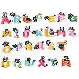 AXEN Parches de letras y animales para planchar o coser, 26 unidades