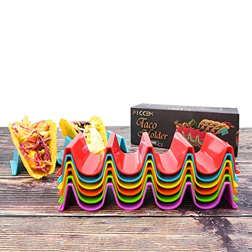 PICCEM Set of 6 Taco Holder Stand, Each Taco Stand Holds Upto 4 Tacos   ABS...