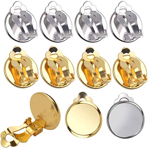 Aylifu Ohrclip Konverter, 20 Stück (10 Paar) Ohrring Umwandler zum Ohr-Clip Ohrclip mit Fassung Rohlinge für Cabochons Ohrring Basteln - Silbern und Golden