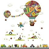 MOOKLIN ROAM 2 piezas Hot-Air Balloon pared adhesivos para las habitación de niño vehículo Pegatina de pared vinilo adhesivo decorativo extraíble de Wall Stickers para salón dormitorio,30 x 90cm