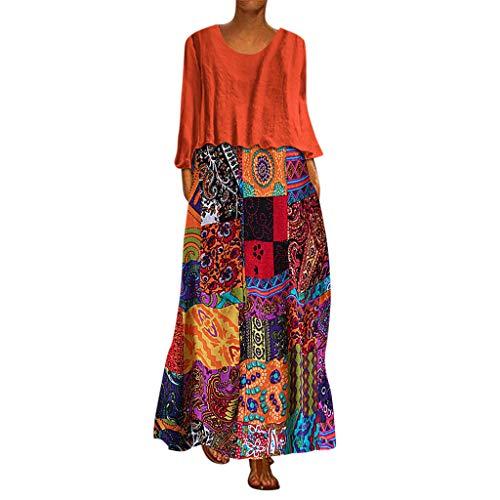 MRULIC Damen Blusenkleid Ärmellos V-Ausschnitt Kleider Lange Dress Party Club Strandkleid Boho Sommerkleid V-Ausschnitt Maxikleid Lang Dress mit Schlitz …(X4-Orange,EU-50/CN-5XL)