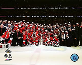 Chicago Blackhawks 2015 Stanley Cup Champions Team Celebration Photo (Size: 8