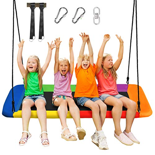 Costzon 700lb Giant 60'' Platform Saucer Tree Swing Set for Kids and Adult, Wear- Resistant Indoor/Outdoor Rectangle Swing w/ Durable Steel Frame and 2 Hanging Straps for Porch, Backyard (Rainbow)