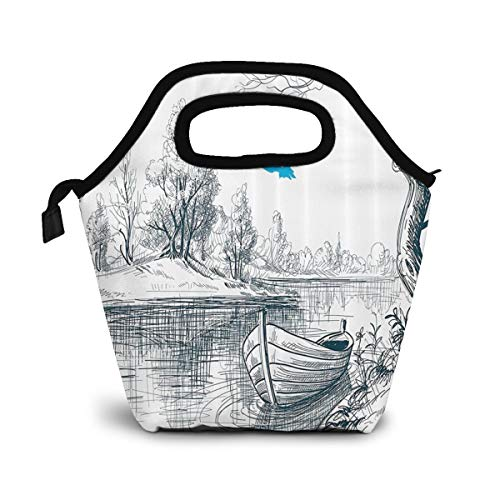 TUYUFBAGS Skizze Zeichnung Clipart Wasser Minimalismus Lunch Tasche Isoliertasche Kühltasche Lunchtasche Thermische Lunch Tasche Mittagessen Tasche für Mädchen Kinder