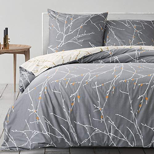 Bedsure Baumwolle Bettwäsche 155x220 cm Grau/Beige Bettbezug Set mit schickem Zweige Muster, 3 teilig weiche Bettbezüge mit Reißverschluss und 2 mal 80x80cm Kissenbezug