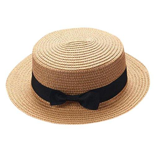 Resplend Sonnenhut 2018 Mode Visier Kappe Strand Hüte Bowknot Strohhut Jazz Hat (Khaki)