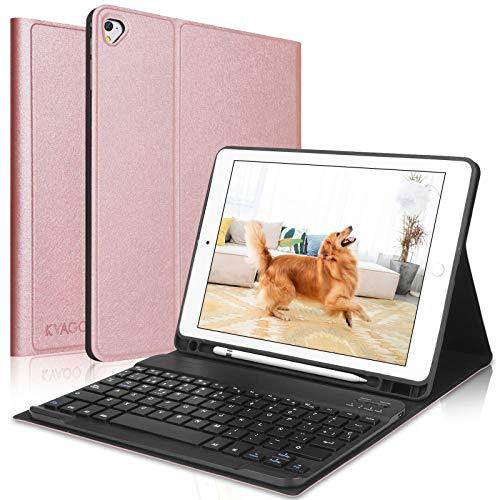 KVAGO Teclado iPad 10.2 2019,Funda con Teclado (Diseño Español Incluye Ñ) Bluetooth Inalámbrico para iPad 2019 10.2/iPad Air 3 2019/iPad 10.5 Pro,Oro Rosa
