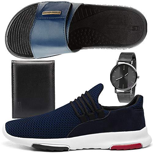 Kit Tênis Sneaker Masculino Conforto Com Chinelo Slide Esportivo + Relógio e Carteira (40, MARINHO)