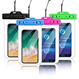 Nylsem Waterproof Phone Pouch,4Pack Universal Cellphone Waterproof Pouch Double Insurance Waterproof Case Compatible with iPhone X/8P/8/7P/7/6P/6/Samsung Galaxy S7/S8 and More Phones Upto 6.3 Inches