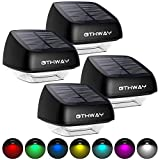 Solar Fence Post Lights OTHWAY 4 Pack Outdoor Waterproof RGB Colourful Decorative Fence Post Solar Lights Lights Easy Installation Dark Sensing