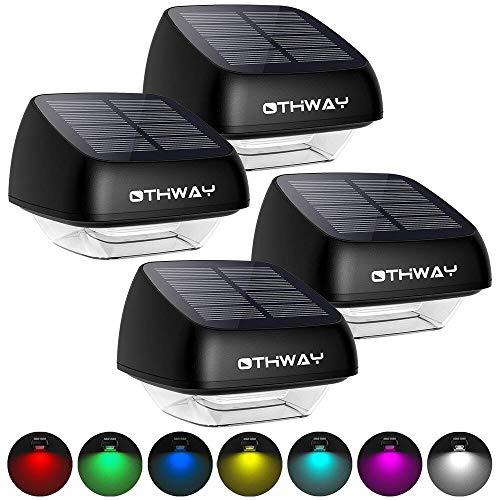 Solarzaun-Pfostenleuchten OTHWAY 4Pack Outdoor Waterproof RGB Bunte dekorative Solarlampen für den Außenbereich Einfache Installation Dark Sensing Solar Waterproof Wandleuchte für den Garten
