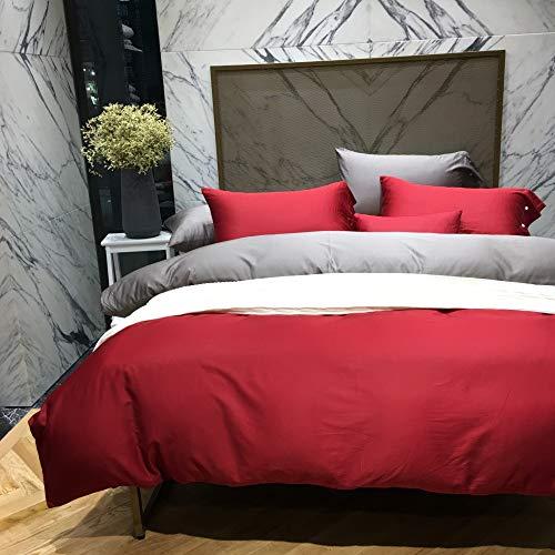 yaonuli Katoen dubbel verwend satijn effen lange-nietje katoen vierdelig katoen effen kleur quilt set dubbelgestikt rood grijs 1.8m (6 voet) bed