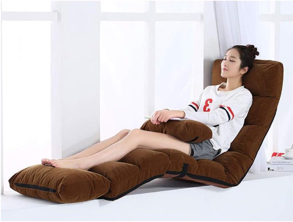 Chaise de Plancher Canapé-lit de salon pliant 5 positions réglable fauteuil paresseux à dossier haut Siège éponge confortable avec pédale amovible (Color : B) G