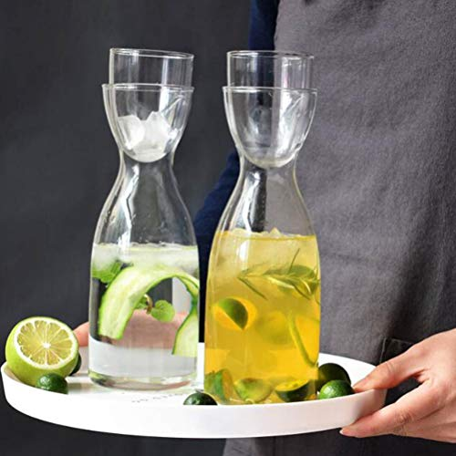 UPKOCH Water Carafe And Glass Set Clear Glass Pitcher Bottle Container Teapot Kettle With Glass Cup Lid Heat And Cold Resistant 501-600ml