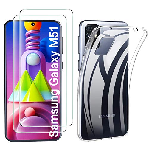 Samsung Galaxy M51 Hülle Panzerglas, [1 Handyhülle 2 Schutzfolie] Schutzhülle [Ultra Dünn] Folie Glas 9H Panzerglasfolie TPU Silikon Case Cover Tasche Schale Transparent Crystal für Samsung Galaxy M51