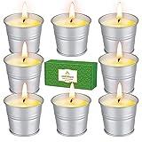 SUPERSUN 8 Velas de Citronela para Exterior, 80-120 Horas Velas de Soja Natural para Camping, Jardín, Exterior, Interior , BBQ