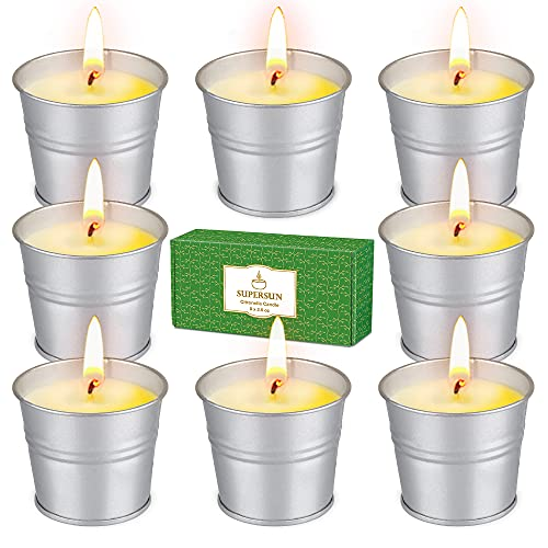 SUPERSUN 8 x 2.6oz Citronella Candles Outdoors, 80-120 Long Burn Hours Natural Soy Wax Scented Candles with Citronella Oil for Outdoors, Indoors, Outside, Garden, Camping