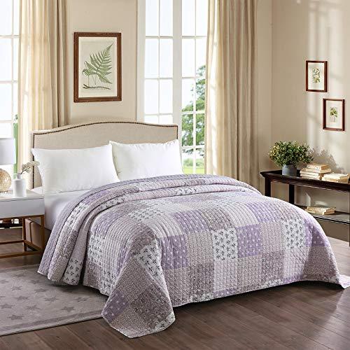 Laneetal 0180017, Tagesdecke Steppdecke Bettüberwurf Patchwork Wendedesign Bettdecke Stepp Decke Doppelbett unterfüttert & gesteppt, 150x200 cm