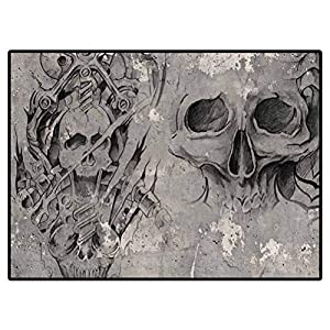 Carpet for Living Room Modern Tattoo Art,2 Biomechanical Demons Over Grey Background, Sketch Camper Rugs Outdoor Floor Rugs for Living Room 6.6 X 10 Ft
