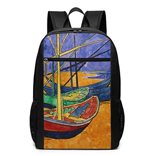 Qfunny Vincent Fischerboote am Strand Schultasche Reiserucksack 17 Zoll Laptoptasche