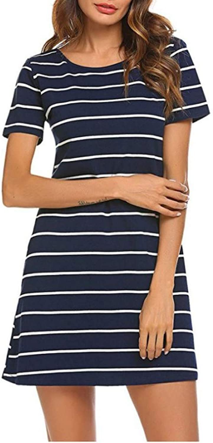 AISKLY Women Casual Striped Dress Short Sleeve T Shirt Dresses with Pockets