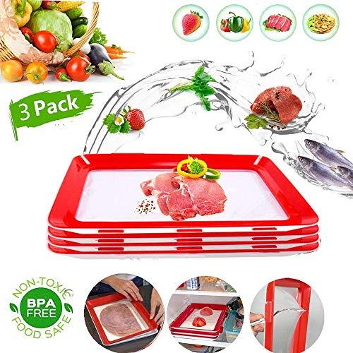 Essen Frisch Tablett, GHONLZIN Tablett für die Lebensmittelkonservierung Aufbewahrungsbehälter für Lebensmittel zum Frischhalten von Lebensmitteln (3 pieces)