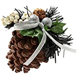 WeRChristmas Decorated Pine Cone Christmas Decoration - Black/Silver, Pack of 5