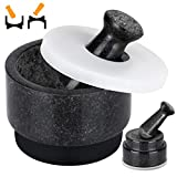 COSYLAND Pestle and Mortar Set 2 in 1 Both Ends Usable, 2.5 Cup Large Capacity, 2 Pestles Included, Pill Crusher Spice Grinder, Kitchen Dining Room Herb Bowl Solid Stone Granite Black