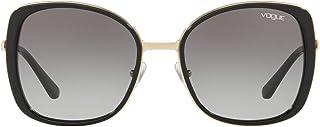Vogue Eyewear UV protected Square Sunglasses (0VO3990SI|54.9 mm|Grey), grey lens/black frame, 55 mm