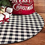 S-DEAL 48 Inches Christmas Tree Skirt Black and White Plaid Buffalo Double Layers Checked Deco for Holiday Party Mat Xmas Ornaments