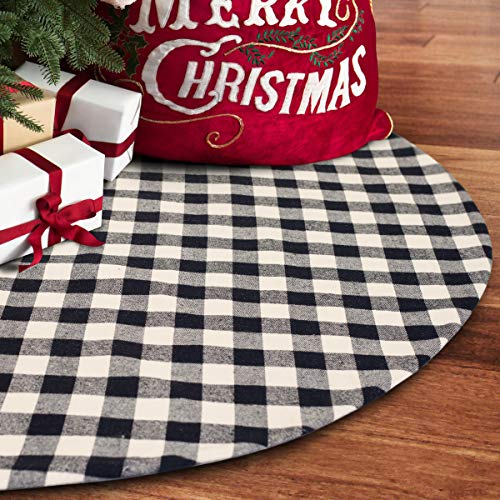 S-DEAL 36 Inches Christmas Tree Skirt Black and White Plaid Buffalo Double Layers Checked Deco for Holiday Party Mat Xmas Ornaments