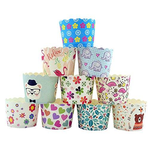 CANDeal 100 Stück Muffin Backformen aus stabilem Papier, groß Ø 5 cm, Muffinförmchen/Cupcake Backformen
