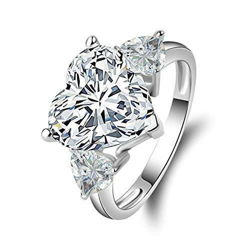 Adokiss Mujer no-metal-stamp (Fashion only) plata corazón blanco Cubic Zirconia