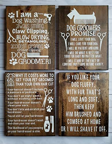 Rea66de - Set de regalo para el novio del perro, letreros de negocios, decoración rústica para el hogar, para mascotas, spa, perro, peluquería, regalo para el cuidado de mascotas, decoración de perros
