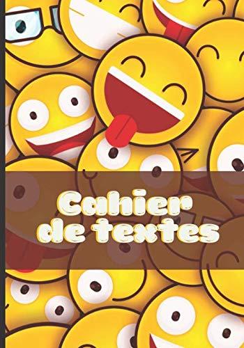 Mon cahier de texte: Cahier de devoirs pour la rentrée scolaire | Carnet de notes format Séyès | Format pratique pour les cartable | Couverture Emoji Emoticones