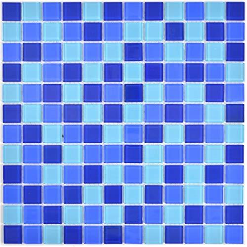Mosaikfliese Transluzent Glasmosaik Crystal blau BAD WC Küche WAND MOS63-0405