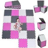 MSHEN 18 pièces Puzzle Tapis Mousse bébé   Tapis Mousse Puzzle Tapis de So l Jeux éducatifs pour la Petite enfance Tapis. La Taille 1,62 carré.Blanc -Rose-Blanc cassé-010312g18