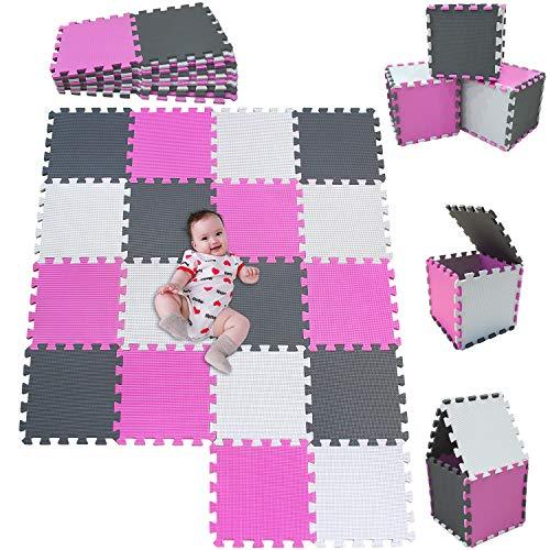 MSHEN18 Piezas Alfombra Puzzle Bebe con Certificado CE y certificación EVA | Puzzle Suelo Bebe | Puede ser Lavado Goma eva,Tamaño 1.62 Cuadrado,blanco-rosa-gris-010312g18