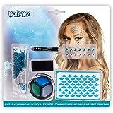 Amakando Extravagante Set de Maquillaje Mermaid - Azul-Verde - Kit marítimo cosméticos para Mujer - Ideal para Fiestas temáticas y Carnaval