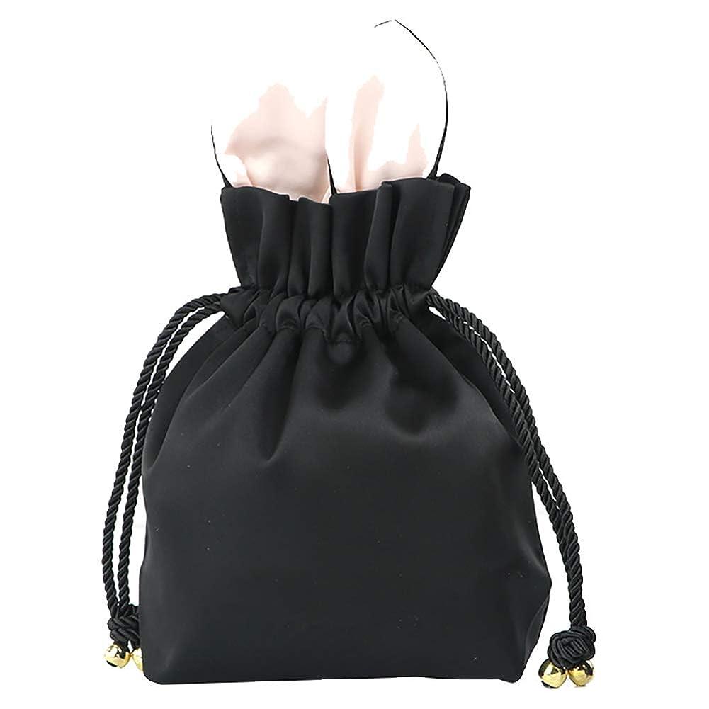 情緒的有利レジデンスかわいい化粧品のバッグ小さなポータブルドローストリング化粧品のバッグの女の子化粧品の収納袋黒24 * 7 * 20CM