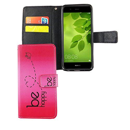 König Design Handyhülle Kompatibel mit Huawei Nova 2 Handytasche Schutzhülle Tasche Flip Hülle mit Kreditkartenfächern - Be Happy Design Pink
