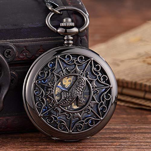 ZIYUYANG Reloj de Bolsillo,Reloj de Bolsillo mecánico Hueco Tallado Tacones Altos Femeninos Reloj de Bolsillo Tallado Collar Colgante Negro