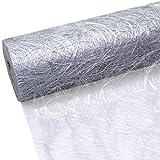 Sizoweb Tischband - 25 Meter Rolle + 100 Deko Herzen Gratis (20cm Breite, in Silber)