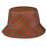 Lawenp Estilo escocés Clan Macalister Tartan Plaid Impresión Unisex Sombrero de Cubo Patrón Sombreros de Pescador Verano Reversible Packable Cap Mujeres Hombres Niña Niño Negro