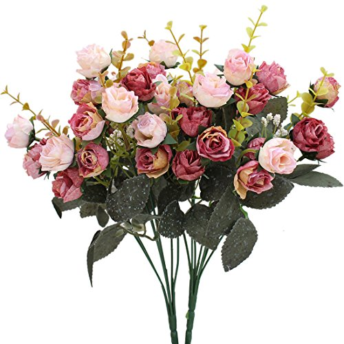 Luyue 7 Branch 21 Heads Artificial Silk Fake Flowers Leaf Rose Wedding Floral Decor Bouquet,Pack of 2 Small Size (Pink Coffee)